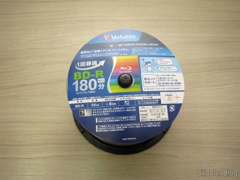 Tubo com 50 Discos Blu-Ray Graváveis BD-R 25GB Verbatim 6X
