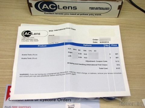 Invoice the 4 Contact Lens Cooper Vision Avaira Toric boxes