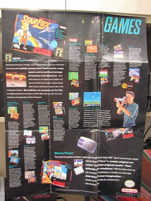 Poster with games and accessories that came with the Super Nintendo