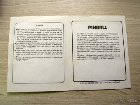 Manual of Cartridge 4 Games Apple Vision with Smart Bear, Tron, Pinball, and Volleyball