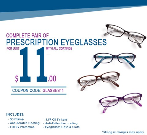 Goggles4U Promotion: pair of complete eyeglasses for only $ 11,00