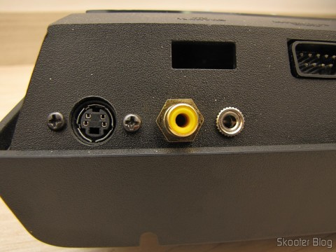 Detail of the back of the Atari VCS / 2600 with the S-Video output, Composite Video and Stereo Audio