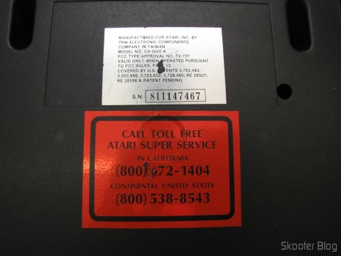 Bottom of the Atari VCS / 2600 with serial number of the US Atari