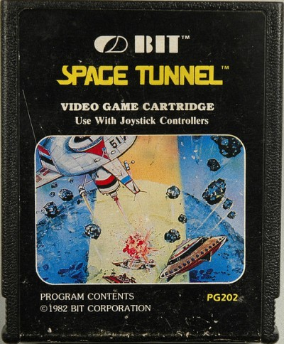 "A capa do cartucho do ""Space Tunnel"" original da Bit Corporation"