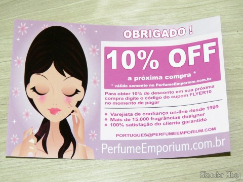 Discount coupon for the next purchase offered by Perfume Emporium