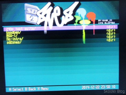 Image of SD2SNES menu through the SCART RGB Cable for Super Nintendo (SNES) NTSC / PAL-M with CSYNC