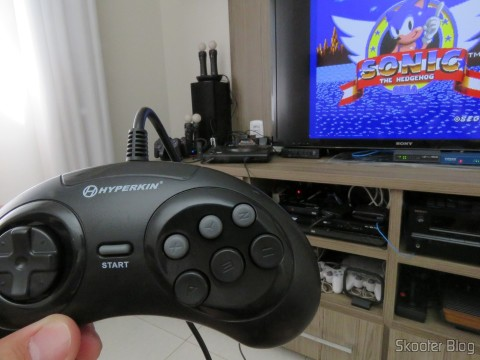 "Genesis ""GN6"" Controller (Hyperkin)  connected to the Sega Genesis, very long wire"