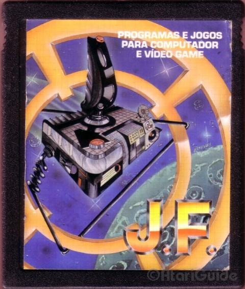 Cartucho típico da J.F. com jogos de Atari 2600, capa genérica sem relação com os jogos contidos no cartucho