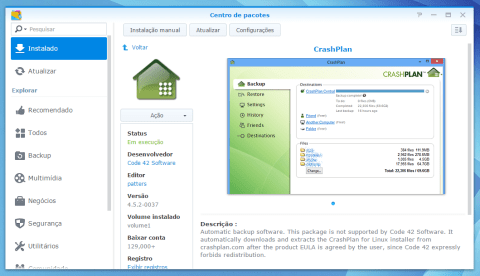 CrashPlan no Synology DS214play