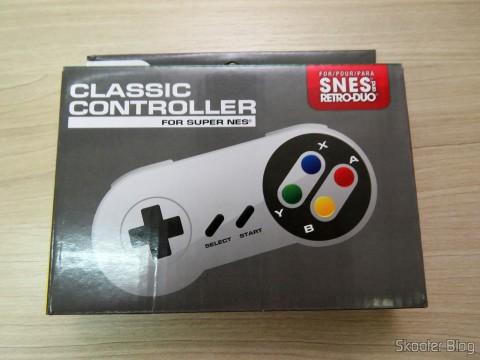 Controle Clássico com Fio para Super Nintendo SNES e Retro-Duo TX Tech em sua embalagem