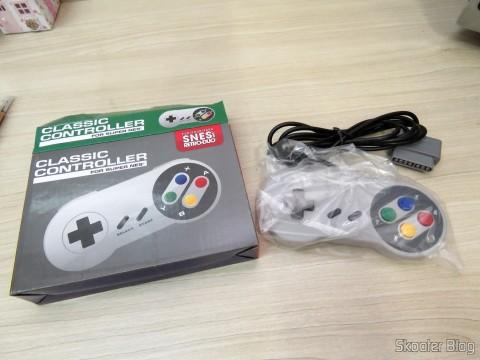 Controle Clássico com Fio para Super Nintendo SNES e Retro-Duo TX Tech e sua embalagem