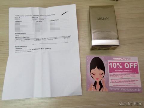 Perfume Emporium package with Armani 3.4 oz (100ml) EDT Spray