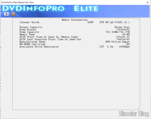 CD-RW Sony no DVDInfoPro