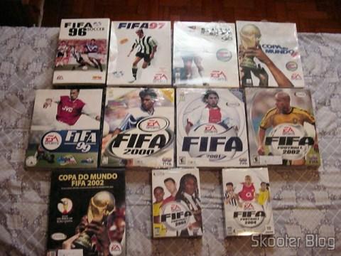 Fifa 96, 97, 98, Copa do Mundo 98, 99, 2000, 2001, 2002, Copa do Mundo 2002, 2003 e 2004 (PC)