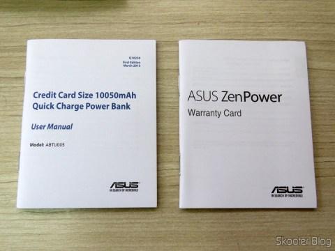Instruction manual and warranty card ASUS ZenPower 10050 mAh