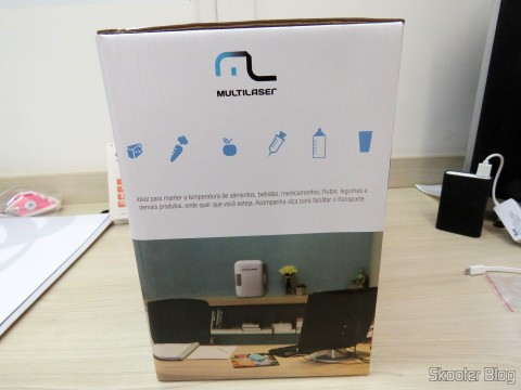 Mini Fridge Portable 12V or 110V with 4 Liter, Heats and Cools function - Multilaser, on its packaging