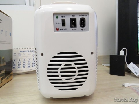Back of the Mini Fridge Portable 12V or 110V with 4 Liter, Heats and Cools function - Multilaser