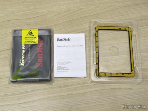 Sandisk Extreme PRO de 240GB, manual e acessórios