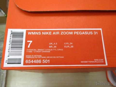 Embalagem do Tênis Feminino Nike Air Pegasus 31