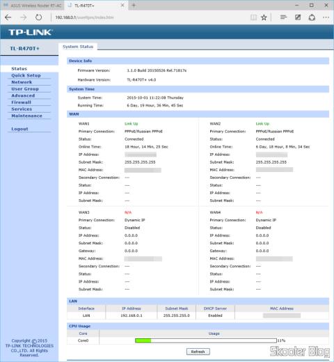 Tela de status do TP-Link TL-R470T+ Load Balance Broadband Router