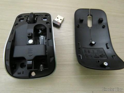 Mouse Óptico Wireless Dell WM324, sem a tampa