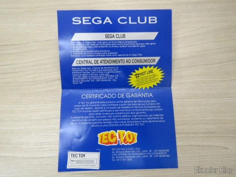 Folheto do Sega Club e Certificado de Garantia do Mega Drive III