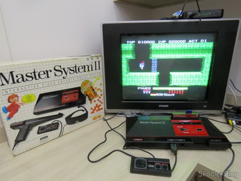 Master System II rodando o H.E.R.O. do SG-1000 com o Master Everdrive