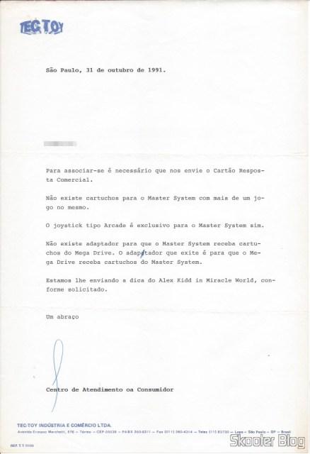 Carta da Tec Toy - 31 October 1991