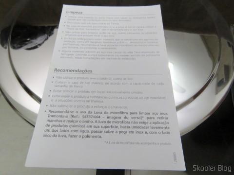 Folheto que acompanha a Lixeira de Inox com Pedal e Balde Removível 12 Litros Tramontina