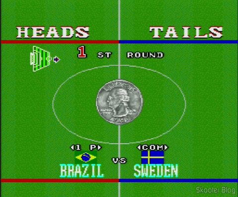 Goal! - Super Nintendo - Flip a coin to choose Ball or field