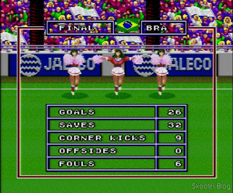 Goal! - Cheerleaders com as estatísticas finais