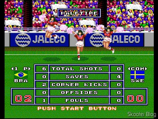 Goal! Com cheerleaders no intervalo.