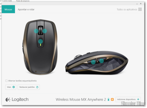 Logitech's configuration screen Options