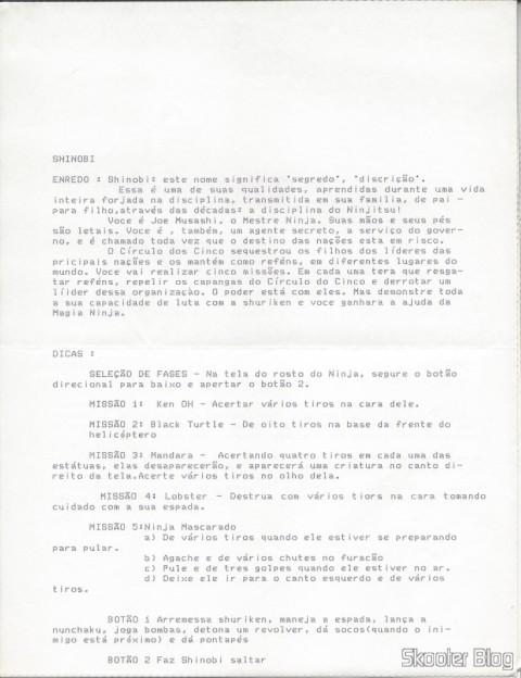 Tec Toy Tips - Shinobi - Master System - Page 1