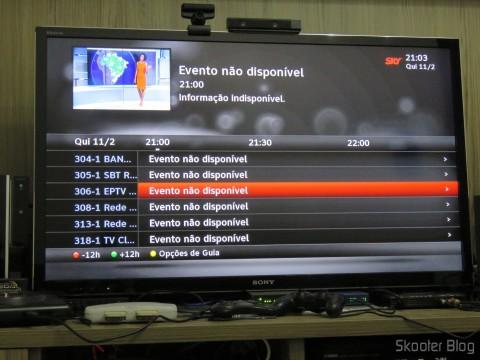 Os canais abertos aparecem na grade, mas a programação não carregou mesmo após várias horas