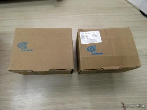 Dois DPS Protetor Contra Raios p / Cabos Clamper, em suas respectivas embalagens
