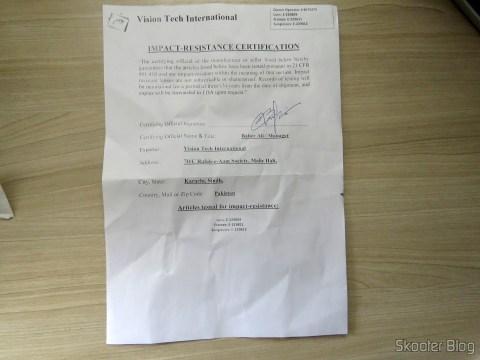 Certificado de Resistência à Impacto do meu Óculos G4U 79012 com Lentes 1.56 Fotocromáticas Cinza da Goggles4U