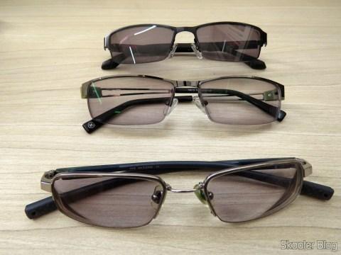 Óculos de Sol com Grau - G4U 2104 com lentes 1.57 CR39, Óculos G4U 79012 com Lentes 1.56 Fotocromáticas Cinza e Óculos Nike Flexon 4182 045 com lentes Essilor Transitions