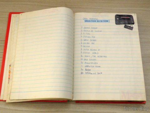 A listinha de jogos terminados de Master System, no caderno da minha infância. Golden Axe na posição 6.