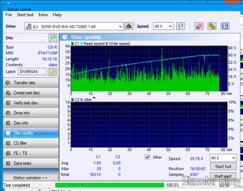 Teste de CD-R de dados gravado com o O Gravador de DVD+/-RW Sony AD-7280S