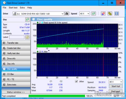 Scan de CD-R Sony gravado com áudio com o Gravador de DVD+/-RW Sony AD-7280S