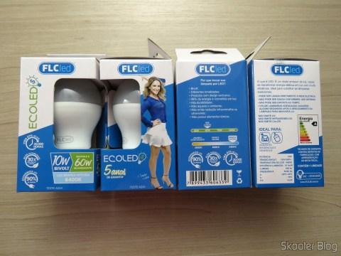Lâmpadas LED FLC 10W 6400K, in their packaging