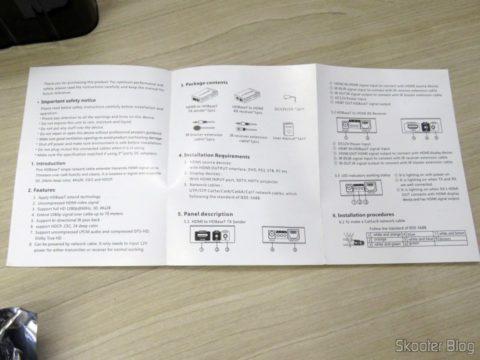 Manual de Instruções do Extensor HDMI Lenkeng LKV375 HDBaseT