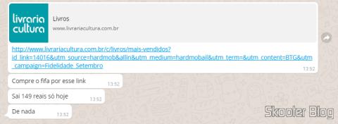 Amigo avisando no Whatsapp sobre promoção da Livraria Cultura