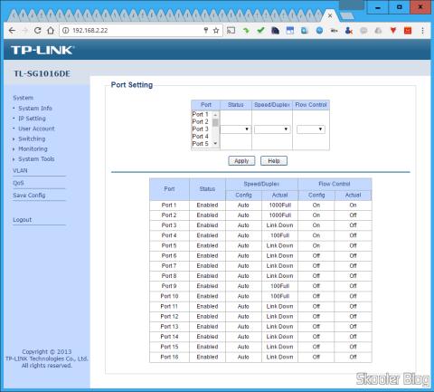 Configuração de portas na Interface Web