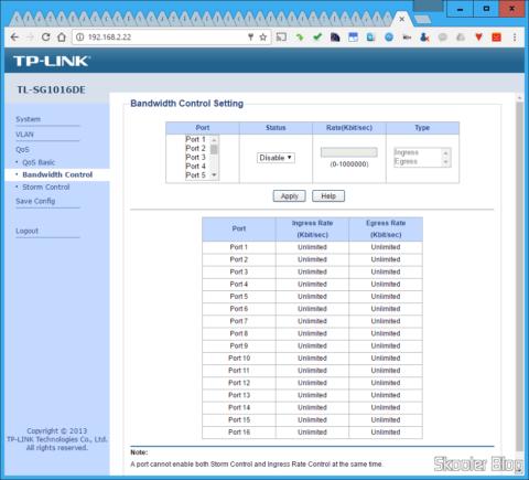 Configurações de Controle de Largura de Banda na Interface Web