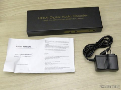 Decoder and HDMI to HDMI Audio Extractor, SPDIF and analog 5.1, instruction manual and power supply