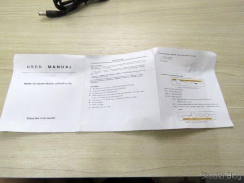 Manual de Instruções do Extrator de Áudio de HDMI para SPDIF e Analógico RCA Estéreo