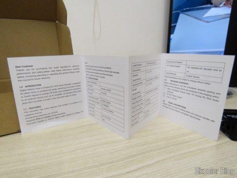 Manual de Instruções que acompanha o Decodificador de Áudio Óptico/Coaxial DTS/AC3 para Analógico Estéreo Wiistar