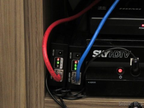 The two Transmitters of Lenkeng LKV375 HDBaseT HDMI Extenders for twisted pair Only, installed by the Sky decoder